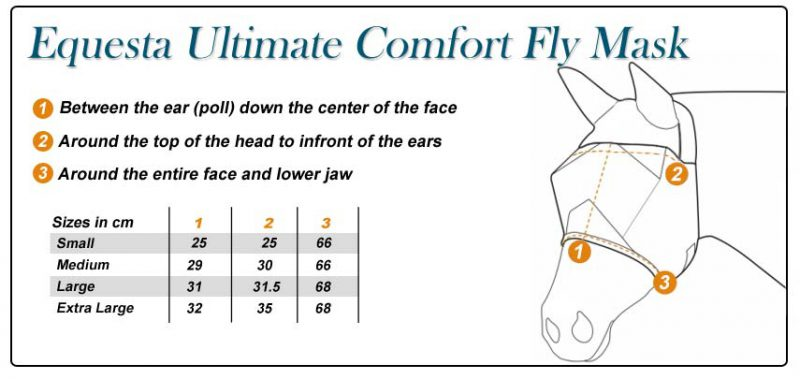 Fly Mask Comfort Size Chart
