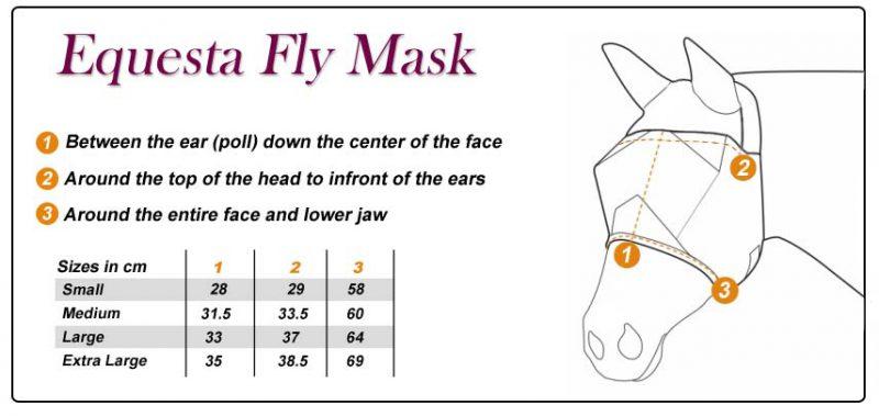 Fly Mask Sizes - Grey